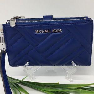 Michael Kors Peyton Cobalt LG Double Zip Wristlet